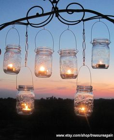 Mason jars work with everything and anything. This looks lovely as lanterns.