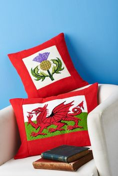 These patriotic cushions are made using needlepoing - learn how with the June issue. There's also an English rose and an Irish shamrock! (Sew magazine, June, issue 60)