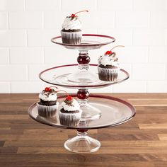 A must for entertaining! Perfect for appetizers or desserts, stacked in 3 tiers, or use each tier separately. This simple design coordinates beautifully with your everyday dinnerware, but is elegant enough to take out when company's coming! Knife Block Set, Event Themes, Bakeware, Kitchen Gadgets, Platter, Simple Designs, Dinnerware, Great Gifts, Appetizers