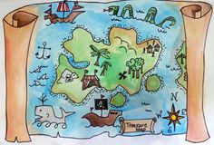 You can't study pirates for a school unit and NOT do pirate maps. When I took this e-course from Deep Space Sparkle this summer she had a. Treasure Maps For Kids, Pirate Treasure Maps, Pirate Maps, Treasure Map Drawing, Pirate Quilt, Map Crafts, Pirate Crafts, Book Projects, Map Art