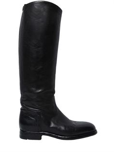 ALBERTO FASCIANI, 20mm embossed leather riding boots, Black, Luisaviaroma - 20mm Heel . Calf size: 3. Embossed side . Stud detail at back . Leather sole