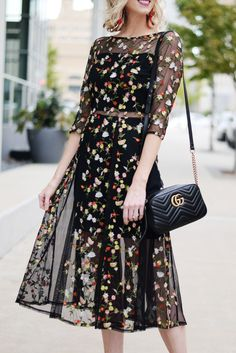 1bb5d0b685ce beautiful dark floral embroidery overlay midi dress with sheer paneling and  black gucci marmont bag Letní