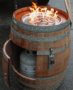 wine barrel gas burner