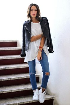 leather moto jacket, oversized white tee, ripped knee jeans & Vans hi-top sneakers #weekend #style #fashion #casual