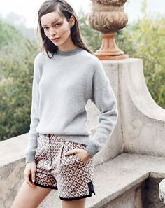 MAR '15 Style Guide: J.Crew women's Collection waffle stitch cashmere and Collection metallic jacquard eyelet short.