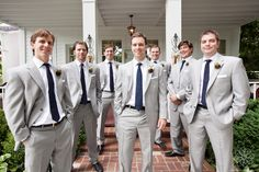 Groomsmen in gray suits & blue ties