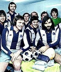 Jeff Astle testimonial with George Best.