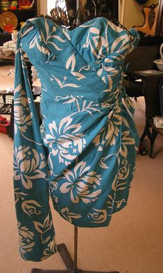 Vintage ALFRED SHAHEEN Hawaii Blue White Strapless Dress Hawaiian Pin up Tiki #alfredshaheen