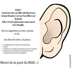 L'OREILLE DU BON GROS GÉANT : UN OUTIL AMUSANT POUR APPRENDRE AUX ENFANTS À NE PAS CRIER.  Si vous en avez assez de dire (j'espère que vous ne criez pas quand même) à votre enfant d'arrêter de crier (sauf de joie), je vous invite à tester l'astuce de l'oreille du bon gros géant. Le bon gros géant (ou BGG) est un personnage de fiction créé par Roald Dahl et récemment porté à …