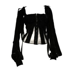 Tom Ford for Yves Saint Laurent Velvet Ribbon Corset | From a collection of rare vintage blouses at https://www.1stdibs.com/fashion/clothing/blouses/