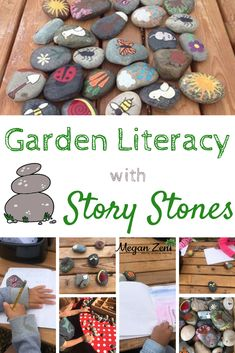 Garden Literacy With Story Stones - Megan Zeni Garden Literacy With Story Stones - Megan Zeni<br> Story stones in the garden offer an opportunity to connect playful learning experiences with equitable and meaningful oral and written storytelling. Preschool Activities At Home, Library Activities, Preschool Special Education, Preschool Literacy, Montessori Activities, Nature Activities, Work Activities, Summer Activities, Kindergarten