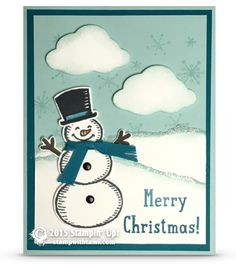 Do you wanna build a snowman? Stamped Christmas Cards, Homemade Christmas Cards, Merry Christmas Card, Christmas Cards To Make, Xmas Cards, Kids Christmas, Homemade Cards, Snow Place, Snowman Cards