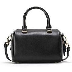 JESSIE & JANE Women Leather Small Boston Bag Crossbody Bag Top Handle Handbag 1293 Black  @ShoppeVero @Amazon @Want