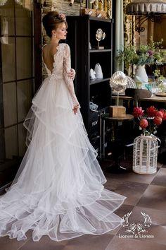 Wedding dress, long sleeve wedding dress, lace wedding dress, unique wedding dress