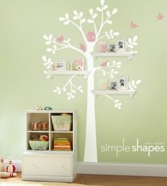 Wall decals baby nursery decor shelving tree decal with birds incorporating shelves into the trees this . wall shelves for baby Baby Nursery Decor, Nursery Wall Decals, Nursery Ideas, Themed Nursery, Nursery Furniture, Nursery Design, Baby Decor, Nursery Room, Girl Nursery