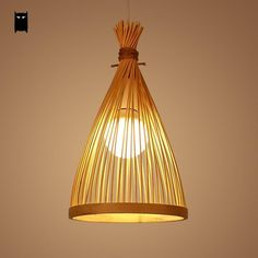 Bamboo Wicker Rattan Bag Shade Pendant Light Fixture Asian Hanging Ceiling Lamp #Soleilchat #Asian