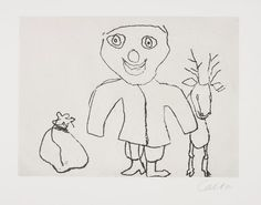 PHILLIPS : UK030115, Alexander Calder, Santa Claus, 1974 - set of 9 etchings on Richard de Bas paper, text by ee cummings on Arches paper 27 7/8 x 21 3/4 in; each sheet signed in pencil, sheets loose in brown paper folder & beige linen-covered clamshell portfolio with stamped title.