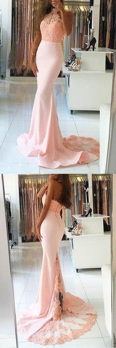 Custom Prom Dresses #CustomPromDresses, Prom Dresses Pink #PromDressesPink, Prom Dresses 2018 #PromDresses2018, Lace Prom Dresses #LacePromDresses, Mermaid Prom Dresses #MermaidPromDresses