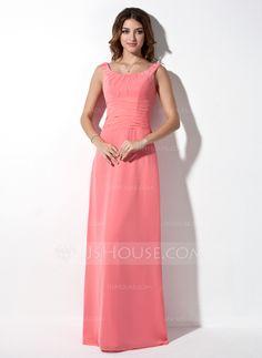 - $109.99 - A-Line/Princess Scoop Neck Floor-Length Chiffon Bridesmaid Dress With Ruffle (007001873) http://jjshouse.com/A-Line-Princess-Scoop-Neck-Floor-Length-Chiffon-Bridesmaid-Dress-With-Ruffle-007001873-g1873