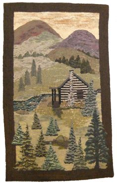 Cabin hooked by Sherry Sayles, pattern designed by Cindi Gay