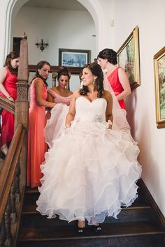 Awww - love the bride and her maids on the stairs!  Wedding on SMP: http://www.StyleMePretty.com/2014/01/27/ombre-wedding-at-aldie-mansion/ Lauren Fair Photography