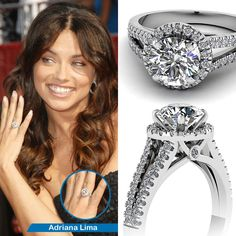Celebrity Look Alike Engagement Ring ||  Studded Crown Ring || Round Cut Diamond Halo Ring With White Diamond In 950 Platinum