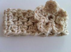 Winter White Ear Warmer with flower chunky by littleshopofliv, $15.00