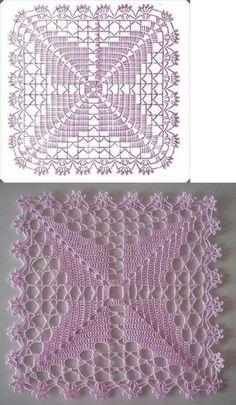 Crochet Table Runner Pattern, Free Crochet Doily Patterns, Crochet Blocks, Granny Square Crochet Pattern, Crochet Tablecloth, Crochet Diagram, Crochet Chart, Crochet Squares, Crochet Designs