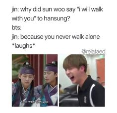 gosh I remember when I watching that scene and I was like wtf and to this day I think they purposely did it and I just wanna aH << lol YET another conspiracy theory on how BTS can hint towards their next and future comebacks *raises an eyebrow* lollll Kookie Bts, Bts Jin, Bts Bangtan Boy, Jin Dad Jokes, Silly Jokes, Bts Quotes, Thing 1, About Bts, Bts Boys