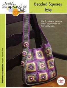 Crochet Handbags Ravelry: Beaded Squares Tote pattern by Dot Drake - Crotchet Bags, Bag Crochet, Crochet Shell Stitch, Crochet Handbags, Crochet Purses, Knitted Bags, Crochet Granny, Crochet Crafts, Free Crochet