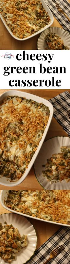 Classic cheesy green bean casserole recipe is a must-make for Thanksgiving dinner! This easy holiday side dish recipe will be your new go-to green bean casserole. #greenbeancasserole #holidaydinner #thanksgivingdinner #thanksgivingsidedish #thanksgivingcasserole #cheesygreenbeancasserole #christmasdinner #christmassidedish #christmascasserole #sidedish #casserolerecipe #easycasserole #easysidedish #easygreenbeancasserole