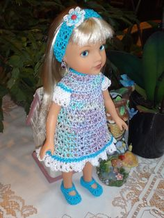 Crochet outfit Hearts for Hearts 14 inch doll Dress Set Purple Blue Green White  flower by dollcrochetboutique on Etsy https://www.etsy.com/listing/221614516/crochet-outfit-hearts-for-hearts-14-inch
