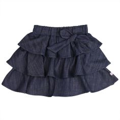 RuffleButts Girls Ruffled Denim Bow Skirt - Blue - Ruffles and denim, the must-have denim skirt with bow for your little princess. With three rows of ruffles, this girls ruffled denim skirt is as girly as it gets and will keep her twirling all day! Bow Skirt, Ruffle Skirt, Denim Skirt, Dress Skirt, Jean Skirt, Ruffles, Baby Girl Bottoms, Baby Girl Skirts, Baby Dress