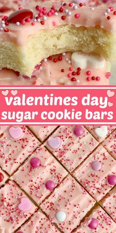 Valentines Day Sugar Cookie Bars | Sugar Cookie Bars | Valentines Dessert Recipes | Valentines day sugar cookie bars are the perfect sweet treat to celebrate with. Soft, thick sugar cookie bars frosted with the best pink frosting ever! Decorate with all your favorite Valentines candy and enjoy. #holidayrecipes #valentinesdayrecipes #valentinesday #dessert #sugarcookiebars Valentine Desserts, Valentines Day Food, Cookie Desserts, Brownie Cookies, Fun Desserts, Cookie Recipes, Valentine Ideas, Delicious Desserts, Bar Cookies