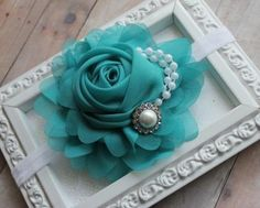 Teal Blue Chiffon Rose Flower Headband Pearls by Beagonza on Etsy, $9.99