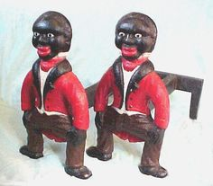 Image Detail for - Antique Black butler American cast iron andirons