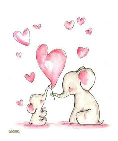 Картинки для детских работ, слоник, луна, звезды, сердце, сердечко