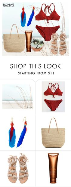 """Burgundy Bikini"" by anemone-ci ❤ liked on Polyvore featuring Nach Bijoux, Target, Elina Linardaki, Clarins and Urban Decay"