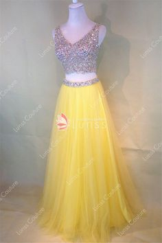 On Sale Fetching 2018 Prom Dress Two-Piece Beaded Sleeveless V-Neck Tulle Yellow Prom Dresses Two Piece Homecoming Dress, Prom Dresses Two Piece, V Neck Prom Dresses, Prom Dresses 2018, Beaded Prom Dress, Cute Dresses, Lace Dress, Evening Dresses, Bridesmaid Dresses