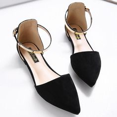 916a5bc1d44b Big Size Pointed Toe Pure Color Metal Flat Slip On Buckle Shoes