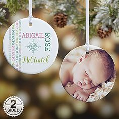 f1e9f1498 Make your home more festive this Christmas with the Personalized New Baby  Photo Christmas Ornament -