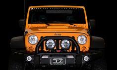 AEV JK Premium Front Bumper, Warn 9.5cti Winch, IPF 900 Driving Lights, AEV JK Front Skid Plate, AEV JK Heat Reduction Hood  Download this image