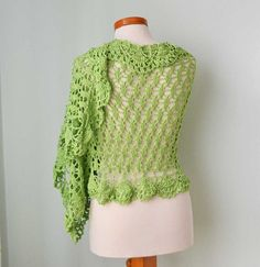Apple green lace crochet shawl stole cotton by Berniolie on Etsy, $90.00