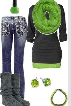 I adore this amazing outfit for its apple green mixed with this dark grey!