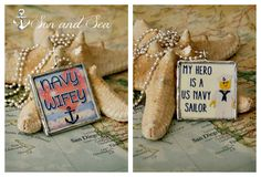 reversible US Navy wife - Lego - hero - soldered glass pendant necklace by Son and Sea FREE US shipping