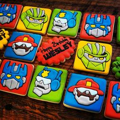 Rescue Bots / Transformer Cookies by TheTreatsbyTrishShop on Etsy 4th Birthday Cakes, Fourth Birthday, 6th Birthday Parties, Boy Birthday, Birthday Ideas, Rescue Bots Cake, Rescue Bots Birthday, Transformers Birthday Parties, Transformer Birthday