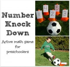 This activity will work on a preschoolers math skills. First you number on a card and then you put them on the cones then call out a number so the child can knock it over with a soccer ball. Preschool Math Games, Gross Motor Activities, Preschool Activities, Preschool Teachers, Physical Activities, Kindergarten, Soccer Drills For Kids, Math Night, Colors