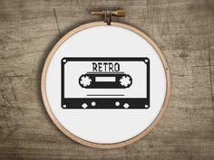 modern retro cassette tape cross stitch pattern  old by futska