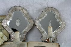 PAIR Etched antique  Venetian Man Woman Mirror Sconces with Murano Glass Flowers