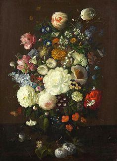 Rachel Ruysch Flower Still Life with Butterflies 1800 Art Floral, Dutch Still Life, Baroque Painting, Still Life Flowers, Dutch Golden Age, Art Corner, Art Auction, Art Pictures, Flower Art
